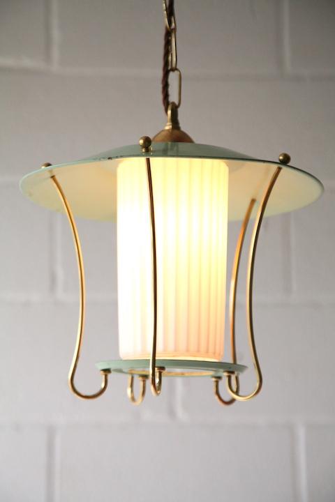 Green 1950s Lantern Ceiling Light Cream And Chrome
