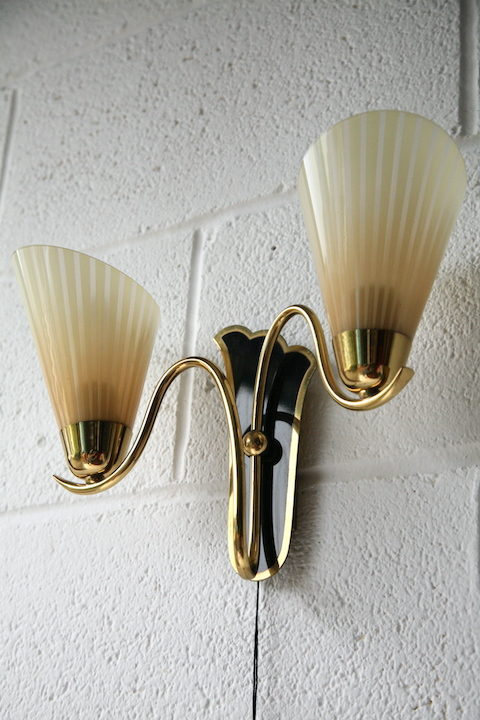 Pair of 1950s Glass Wall Lights 2