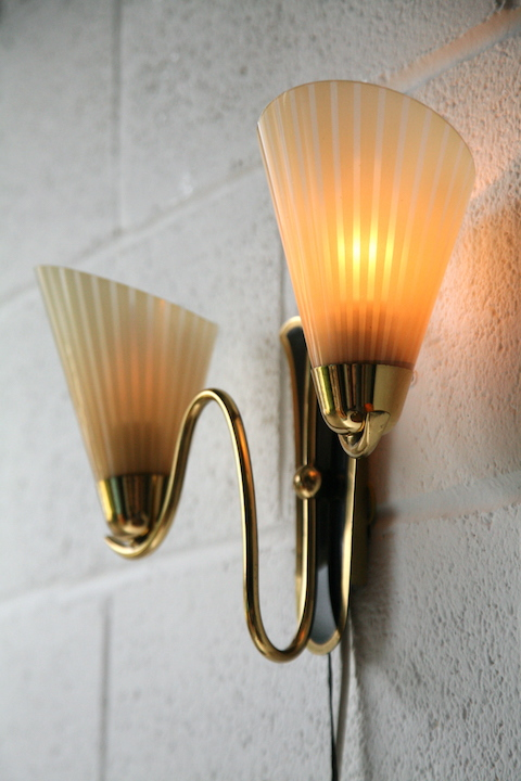 Pair Of 1950s Glass Wall Lights Cream And Chrome