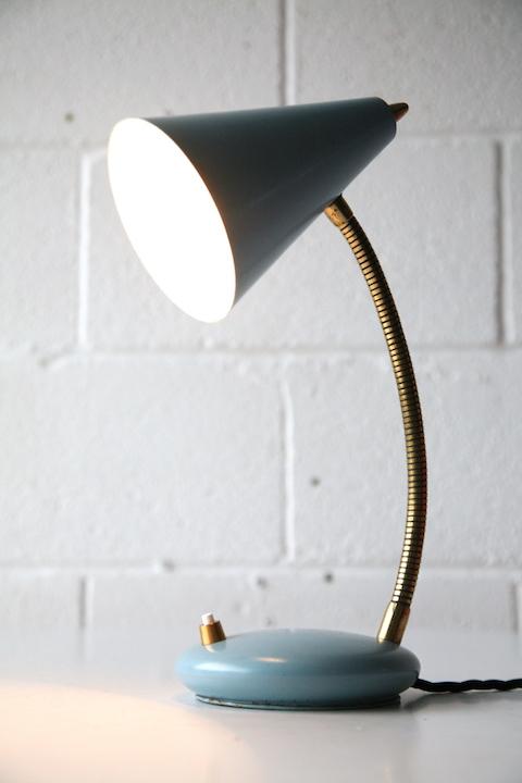 Small Blue 1950s Italian Lamp Cream And Chrome