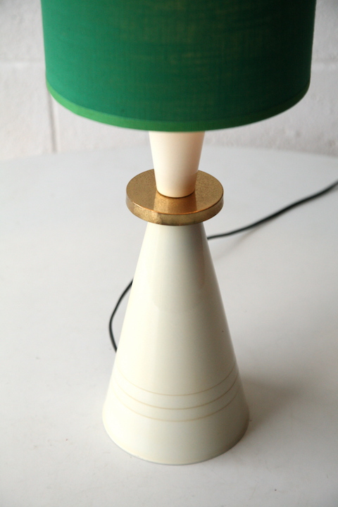 Vintage 1960s Table Lamp With Green Shade Cream And Chrome