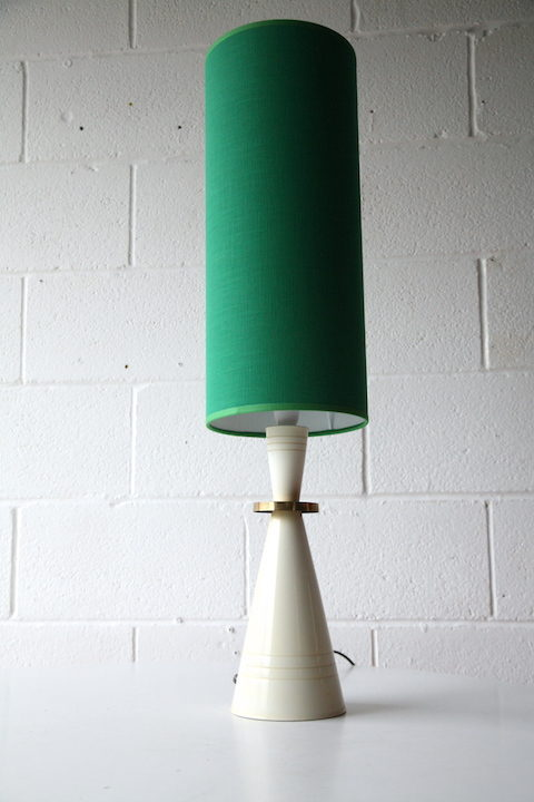 Vintage 1960s Table Lamp with Green Shade 4