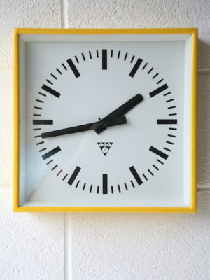 Vintage Yellow Pragotron Wall Clock 1