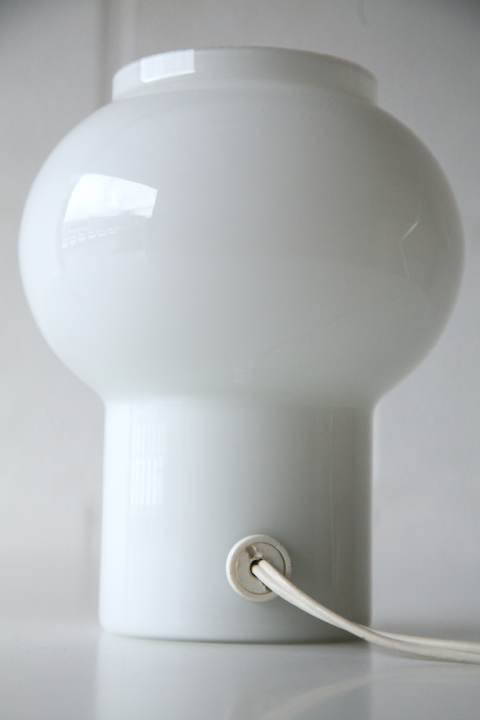 1970s Glass Table Lamp By Thorn Cream And Chrome