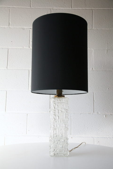 1970s Large Glass Table Lamp 1