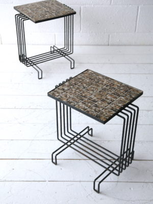 Pair of 1950s French Tiled Tables 1