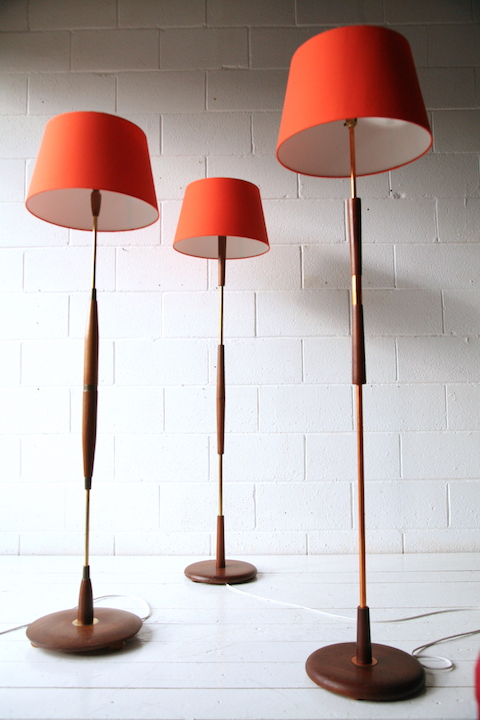 Set of 3 1960s Teak Floor Lamps | Cream and Chrome