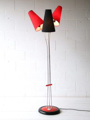Vintage 1950s Red and Black Floor Lamp 3