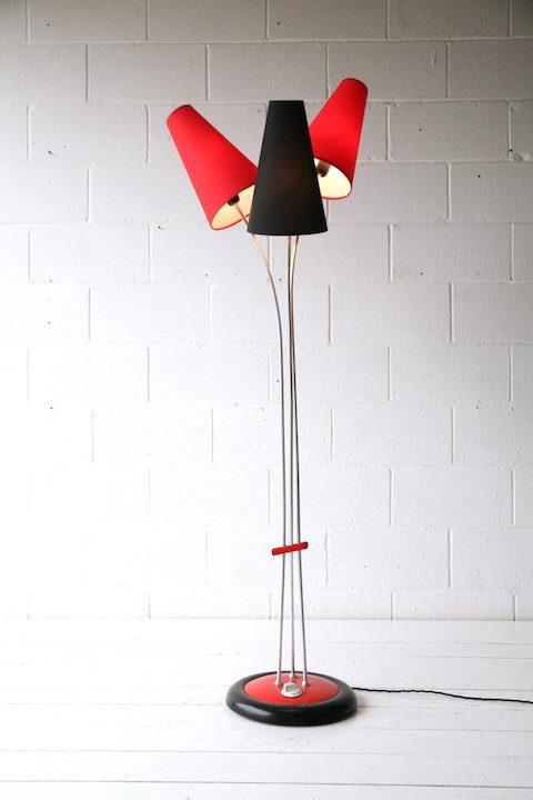Vintage 1950s Red and Black Floor Lamp 3