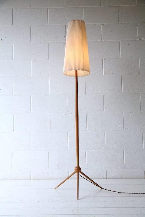 Vintage 1960s Wooden Tripod Floor Lamp