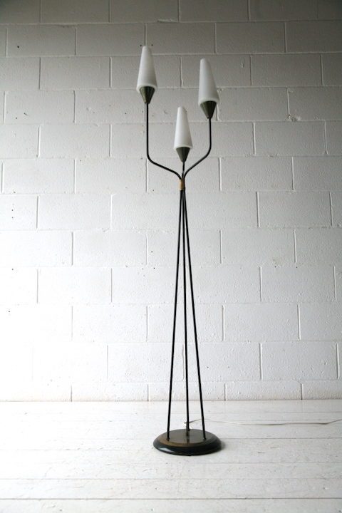 1950s French Glass Triple Floor Lamp 2