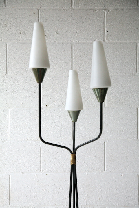1950s French Glass Triple Floor Lamp Cream And Chrome