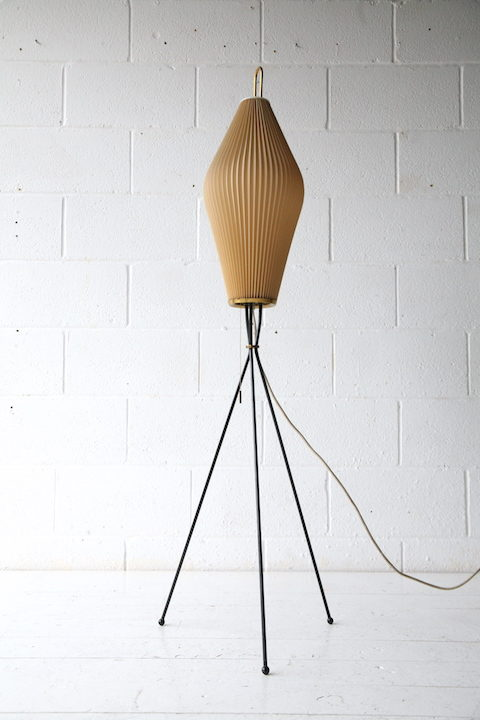 1950s French Tripod Floor Lamp with Pleated Shade 1