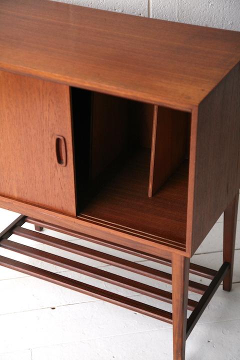 1960s Teak Record Cabinet Cream And Chrome