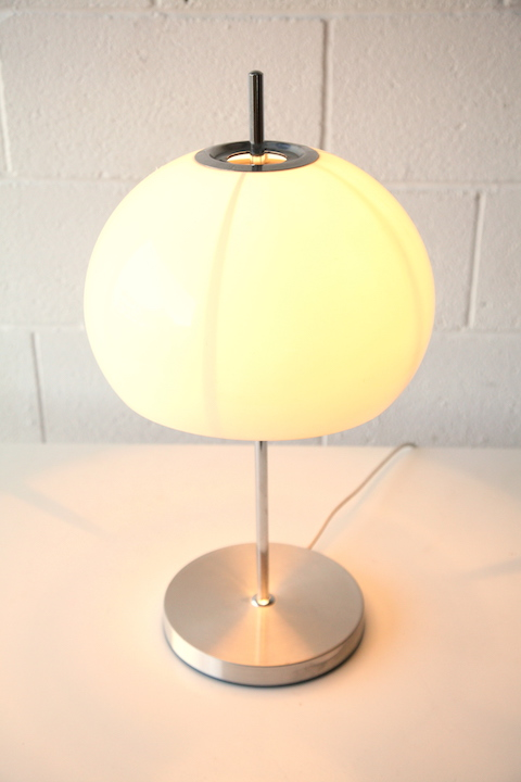 1970s Chrome Mushroom Table Lamp Cream And Chrome