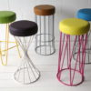 Coloured Modern Wire Stools