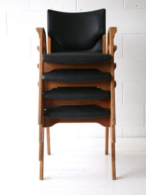 Rare Set of Bentwood Stacking Chairs by James Leonard 1