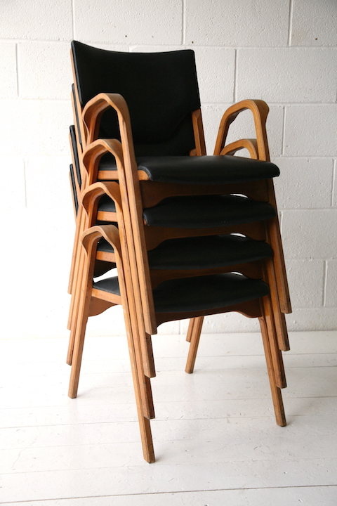 ... Rare Set Of Bentwood Stacking Chairs By James Leonard ...