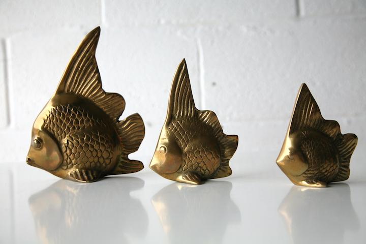Set Of 3 Vintage Brass Fish Cream And Chrome