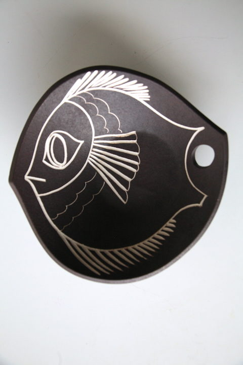 Vintage Bowl with Fish Design 4