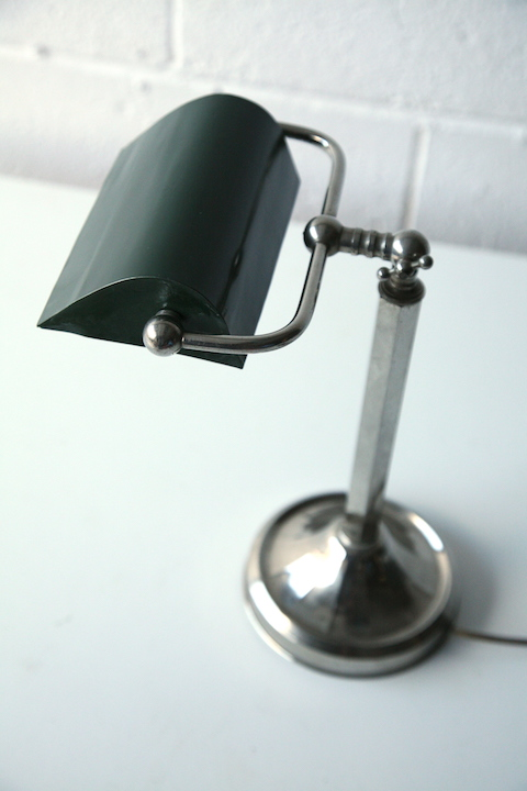 1930s Chrome Bankers Desk Lamp Cream And Chrome