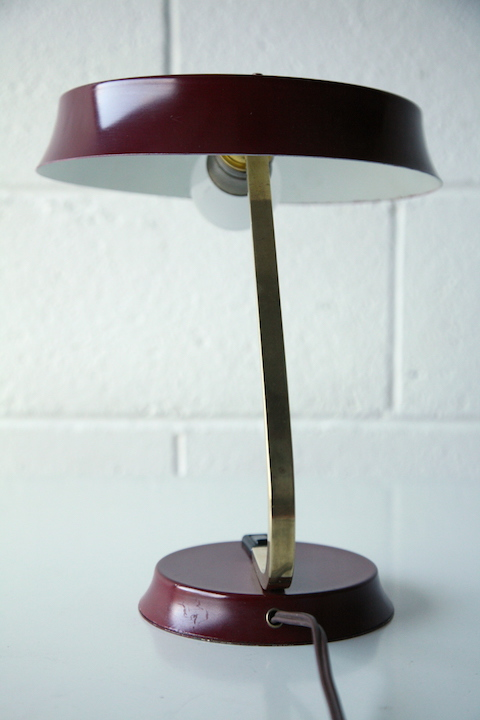 1950s Brass Red Desk Lamp Cream And Chrome