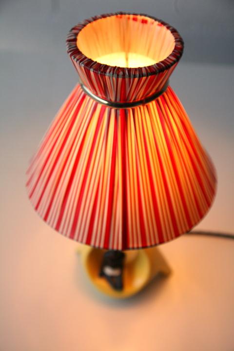 1950s Ceramic Lamp And Shade Cream And Chrome