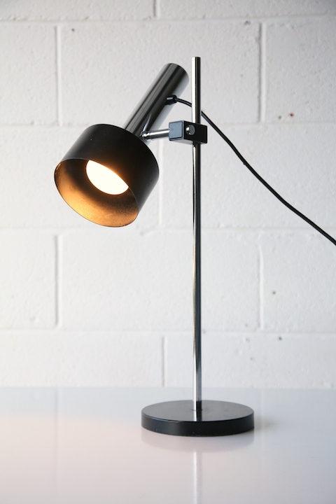 1970s Black Chrome Desk Lamp 2