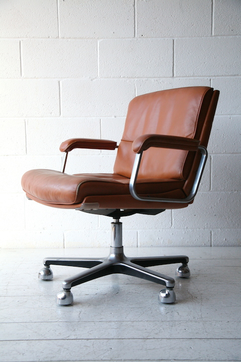1970s Tan Leather Desk Chair Cream And Chrome