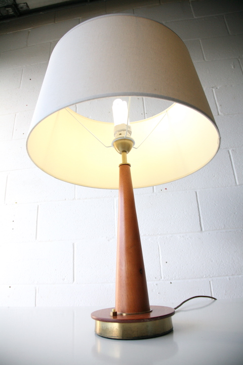 Teak Table Lamp Cream And Chrome