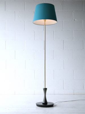 1950s Blue Black Brass Floor Lamp 1
