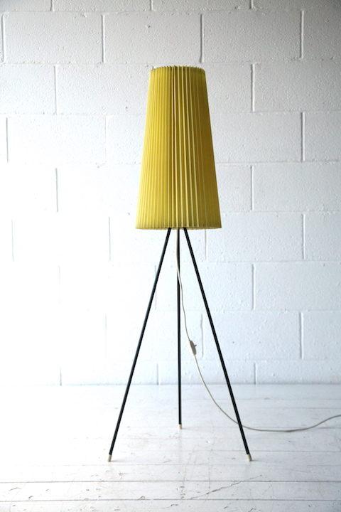 1950s Yellow Tripod Floor Lamp 1