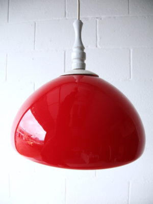 1970s Red Glass Ceiling Light 2
