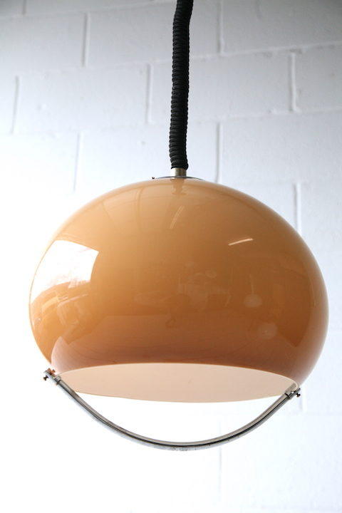 Brown 1970s Rise and Fall Ceiling Light