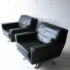 Vintage Leather Swivel Chairs 3