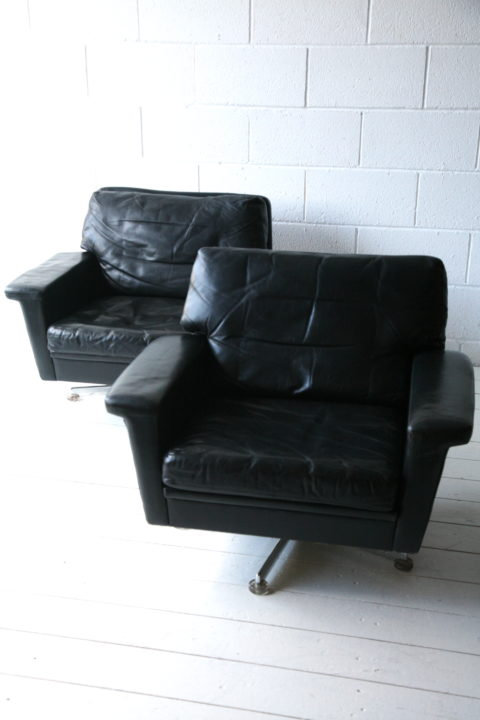 Vintage Leather Swivel Chairs
