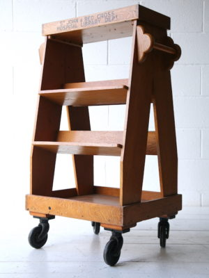 Vintage Oak Hospital Book Trolley 5