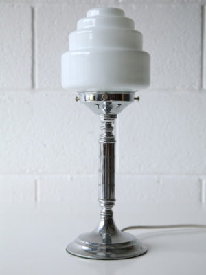 Art Deco Chrome and Glass Table Lamp