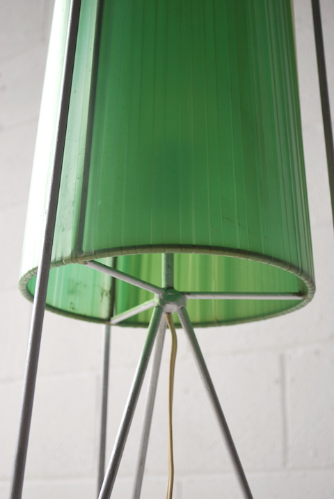 Vintage 1950s Tripod Floor Lamp Cream And Chrome