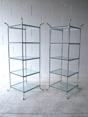 Vintage Chrome Glass Shelves
