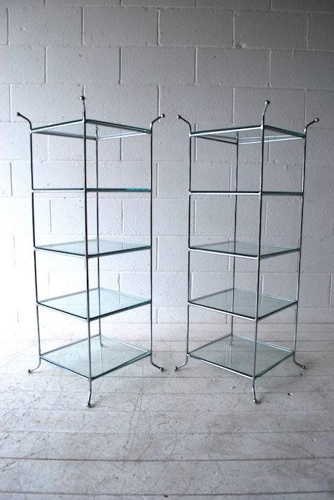 Vintage Chrome Glass Shelves