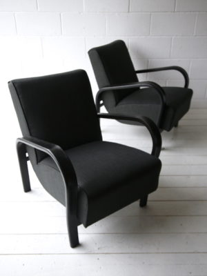 1930s Black Armchairs by Jindrich Halabala 3