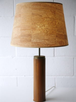 1960s Teak Table Lamp with Cork Shade