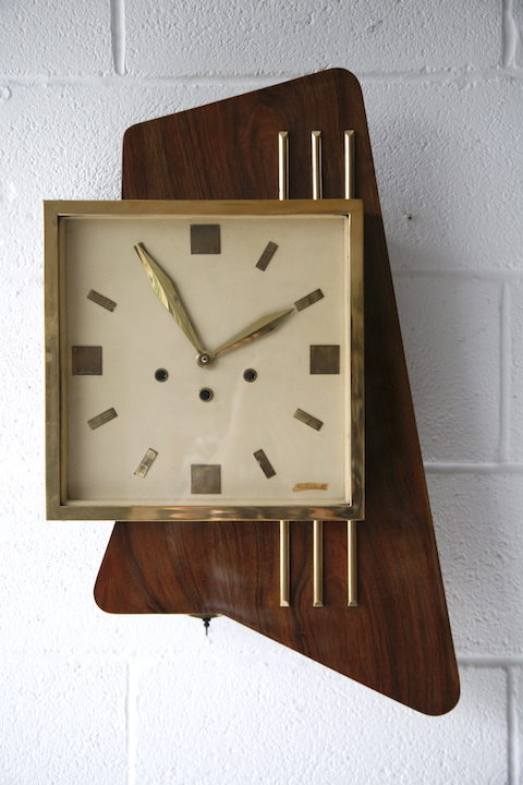 Large 1950s Rosewood Wall Clock