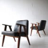 Pair 1960s Black Leather 366 Armchairs by Józef Chierowski 1