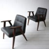 Pair 1960s Black Leather 366 Armchairs by Józef Chierowski