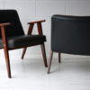Pair 1960s Black Leather 366 Armchairs by Józef Chierowski 3
