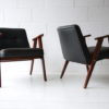 Pair 1960s Black Leather 366 Armchairs by Józef Chierowski 7