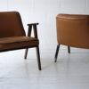 Pair 1960s Tan Leather 366 Armchairs by Józef Chierowski