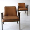 Pair 1960s Tan Leather 366 Armchairs by Józef Chierowski 3